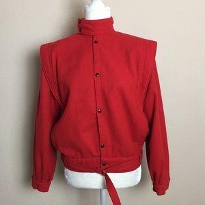 Vintage Rich Red Wool Bomber Jacket